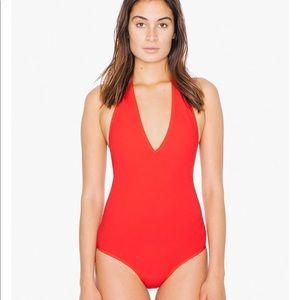 American Apparel Deep V Halter Bodysuit